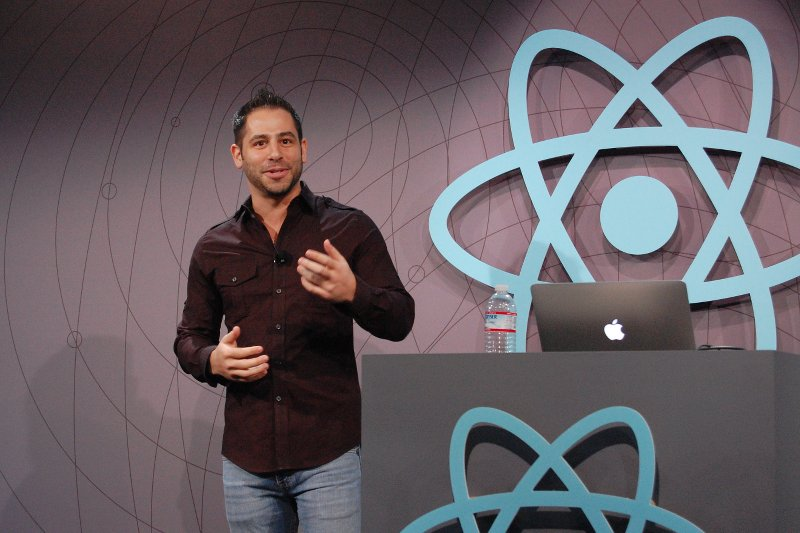 Tom Occhino delivers ReactJS Conf keynote